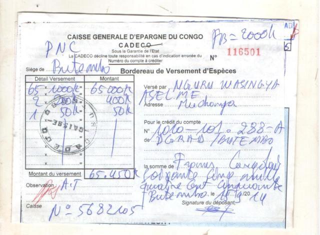 Bordereau de payement de Nguru Wasingya Anselme à la caisse générale d'épargne du Congo de Butembo, Cadeco en sigle.