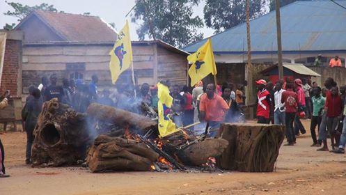 Les manifestants barricadent la route en allumant le feu tout en mettant au feu les drapeaux du Pprd à Beni. Crédit photo : Austère Malika